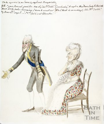 Watercolour sketch for Anstey's Bath Guide No. 59 c.1815