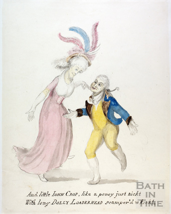 Watercolour sketch for Anstey's Bath Guide No. 61 c.1815