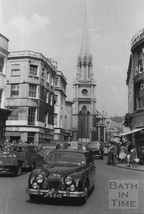 High Street, Upper Borough Walls and St. Michael's Church, Bath c.1968