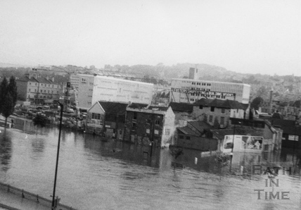 The River Avon in flood, Bath 1968