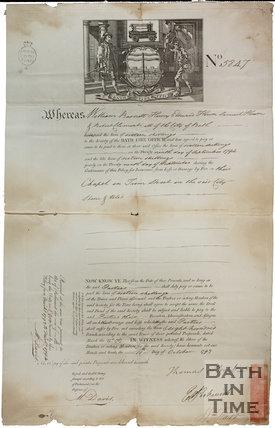 Bath Fire Office Certificate - Chapel in Trim Street, Bath 1793