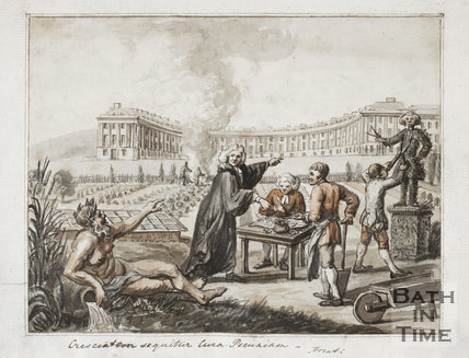 Watercolour of Sir Peter Rivers Gay in front of The Royal Crescent, Bath c.1773