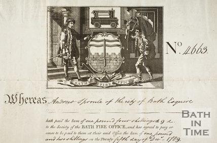 Bath Fire Office Certificate - No. 13, The Circus, Bath 1769 - detail