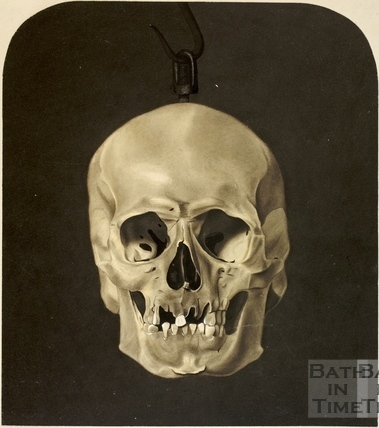 Front view of ancient skull from a stone coffin found in Bath in 1852