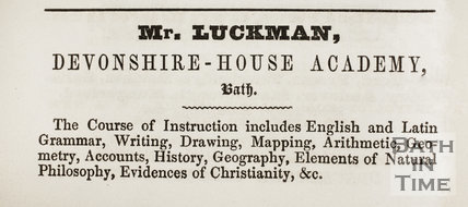 Mr. Luckman, Devonshire House Academy, Wells Road, Bath 1841
