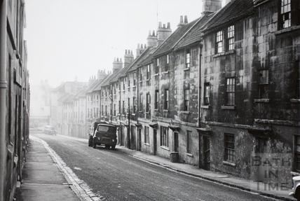 Looking down Lampard's Buildings, Bath c.1965