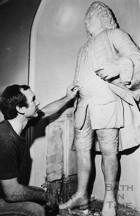 Statue of Beau Nash in the Pump Room, Bath being cleaned 1984