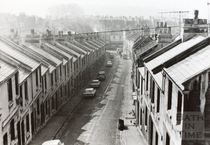 Lampard's Buildings from above Ballance Street, Bath 1968