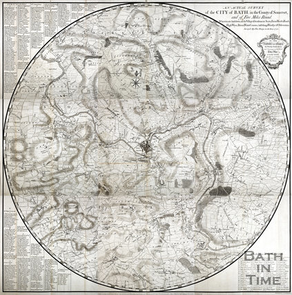 1742 Thomas Thorpe's Map of 5 miles around Bath