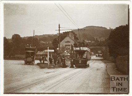 Road to Bathford showing car No. 28 electric tram and early motor bus c.1906