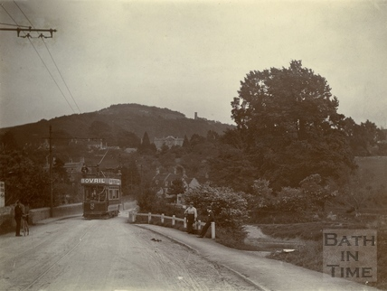 Electric tram car crossing the bridge at Bathford c.1905