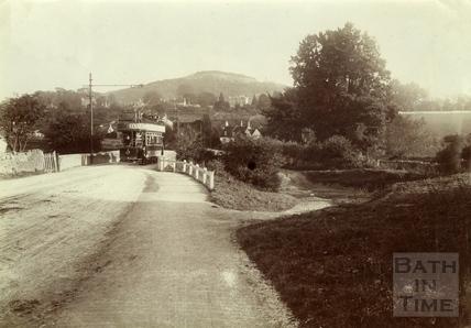 Electric tram car No. 5 crossing the bridge at Bathford c.1905