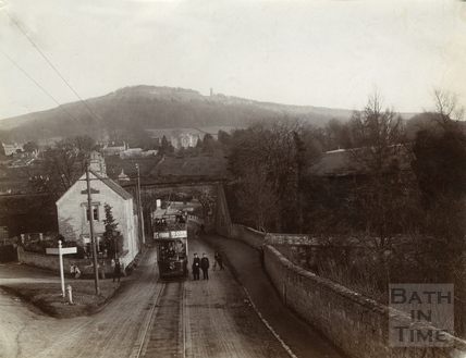 Electric tram No. 27 beside the Bridge Farm, Bathford c.1905