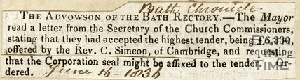 Adowson of the Bath Rectory June 16th 1836