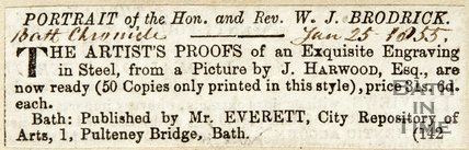 Description of a portrait of the Honourable Reverend Broderick January 25th 1855
