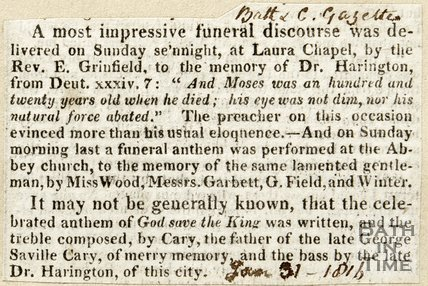 Funeral Discourse held for Dr. Harrington January 31st 1816
