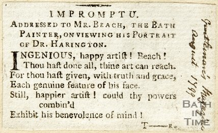 Address to Mr Beach, the Bath Painter upon viewing his portrait of Dr. Harrington, August 1799