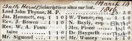 Subscriptions for a monument to Dr Harington, March 11th 1816