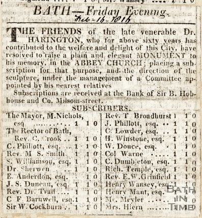 Bath Friday Evening, Announcement of monument to Dr. Harrington and list of subscribers in Abbey Church, February 16th 1816