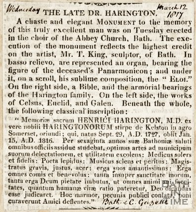 The Late Dr. Harrington, announcing the monument in the choir of the Abbey Church Bath March 12th 1817