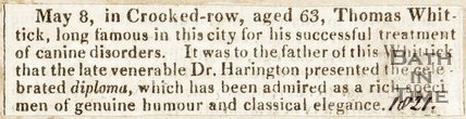 Dr. Harrington presented the celebrated diploma, which has been admired as a rich specimen of genuine humour and classical elegance. May 8th 1821