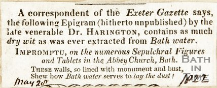 Epigram by Dr. Harrington on Bath May 20th 1822
