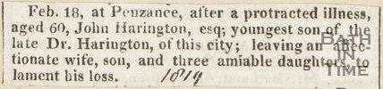 Announcing death of John Harrington Esq. in Penzance (Dr. Harrington's youngest son) February 18th 1819