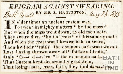 Epigram against swearing by Sir. J Harrington August 26th 1813
