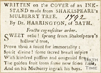 Written On the Cover of an Inkstand made from Shakespeare's Mulberry Tree 1792