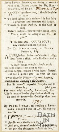 From Peter Pindar on Seeing a recent Musical production by Dr. Harrington of Bath March 1798