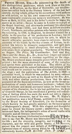 Announcing the death of Prince Hoare Esq. January 3rd 1835