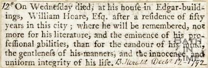 Announcement of Death of William Hoare Esq. December 12th 1792