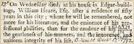 Announcement of Death of William Hoare Esq. December 12th 1792