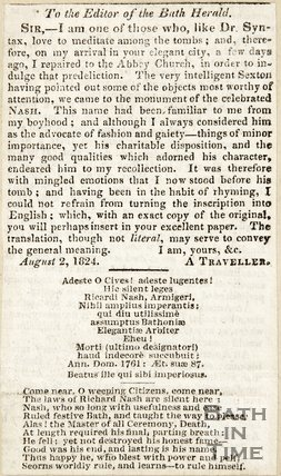 Letter to the Editor of the Bath Herald August 2nd 1824