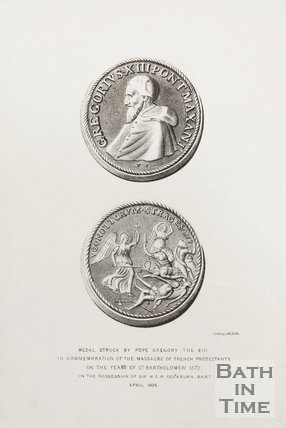 Engraving of 2 medals struck by Gregory XIII in commemoration of the massacre of French Protestants on the feast of St. Bartholomew 1572 in the possession of Sir W.S.R. Cockburn B.A.R, April 1838.