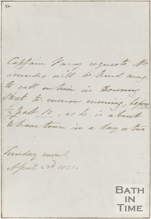 Letter from Captain Parry April 2nd 1821