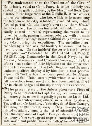 Description of Vase and Freedom of the City to be given to Captain Parry December 22nd 1821