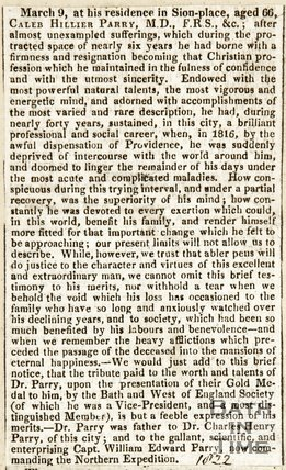 Obituary of Dr Caleb Hiller Parry March 9th 1822