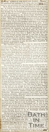 Obituary of Rear-Admiral Sir Edward Parry 1866