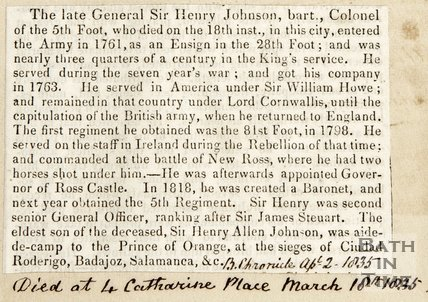 Obituary to General Sir Henry Johnson April 2nd 1835
