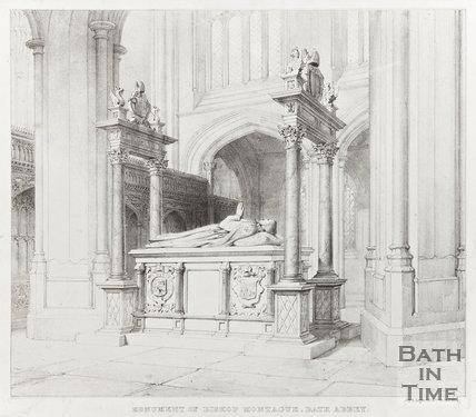 Monument of Bishop Montague, Bath Abbey 1835?