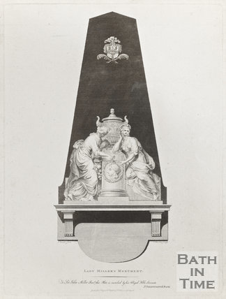 Engraving of Lady Millers monument at Bath Abbey, August 11th 1786