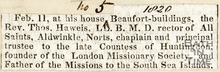 The death of the Rev. Thomas Hawies L.D. B.M.D Rector of All Saints, Aldwinkle, Norts, February 11th 1820