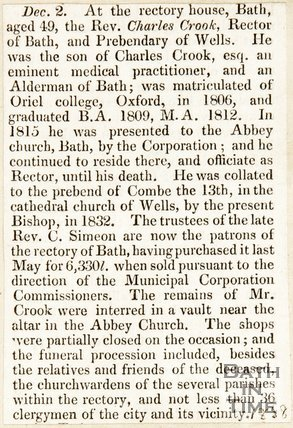 Obituary Rev. Charles Crook, December 2nd 1838