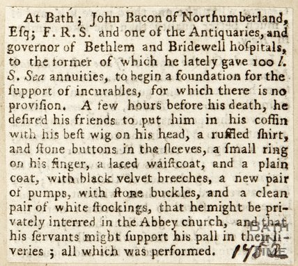 Description of death of John Bacon