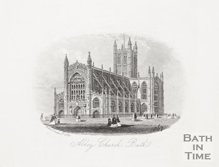 Engraving Abbey Church Bath 1859?
