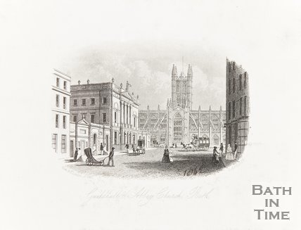 Engraving of Guildhall and Abbey Church Bath 2nd April 1814