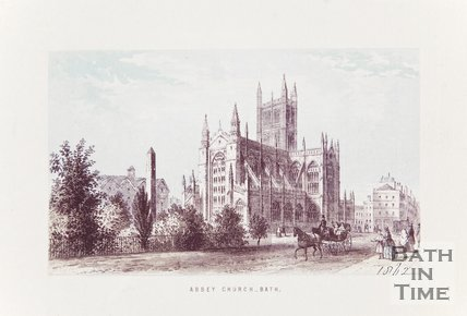 Engraving Abbey Church Bath 1862 coloured