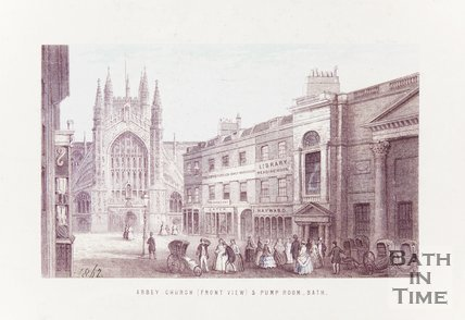 Engraving Abbey Church Front View and Pump rooms Bath 1862 coloured