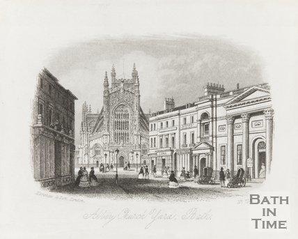 Engraving Abbey Church Yard Bath 1850